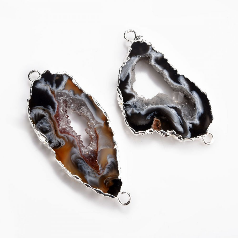 Multi Color Geode Slice Druzy Quartz Silver Plated Necklace Connector Jewelry