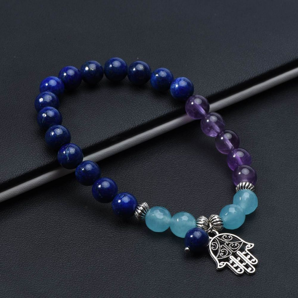 Hamsa Hand /& Lapis Lazuli Necklace and Bracelet Set