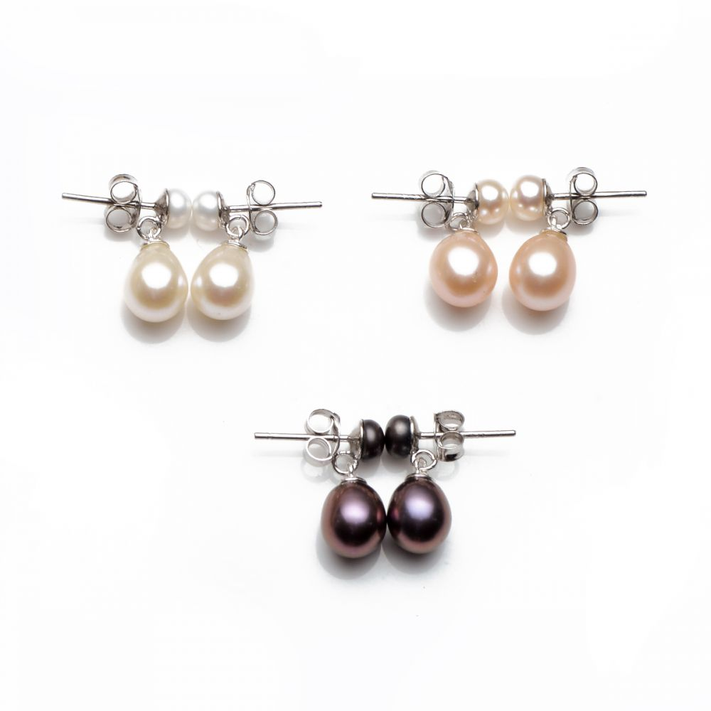 Earrings 925 Sterling Silver Cultured Pink Fresh Water Pearls Dangle Tear Drop
