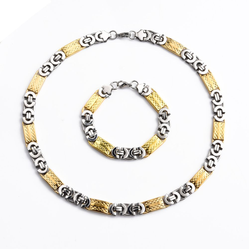 Stainless Steel 11mm Flat Byzantine Yellow Gold Necklace Chain /& Bracelet Set