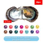 30PC Saltwater Akoya Cultured Pearl Oysters with 6-7mm Round Pearl for Jewelry Making Mix 14 Colors