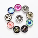 DIY Snap Button Making Mixed Color Pattern Glass Cabochons and Alloy Snap Buttons 18mm Dia.