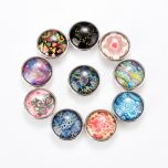 18mm Alloy Snap Buttons Fit Snap Button Bracelet Ring Jewelry Round Multi Pattern At Random