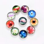 Alloy & Glass Snap Buttons Fit Snap Button Jewelry Round At Random Flower Pattern 18mm