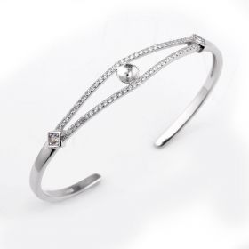 Simple Design Shiny Cuff Bangle Cubic Zirconia 925 Silver Jewelry Findings for DIY