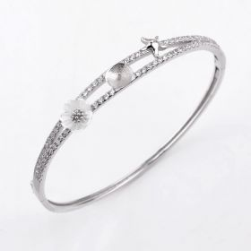 Fashion Flower White Shell Zircons Bangle 925 Silver Pearl Settings for DIY Jewelry Ornament