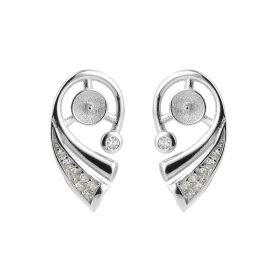 Conch Shape Sterling 925 Silver Zircon Earring Mountings/Finding DIY Pearl Jewelry