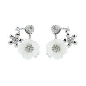 Plum blossom Shape Flower Stud Earrings 925 Sterling Silver Findings with White Shell