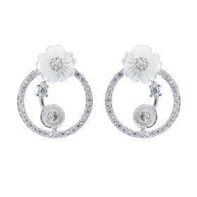 Round Circle Zircon 925 Sterling Silver Earring Settings White Shell Flower