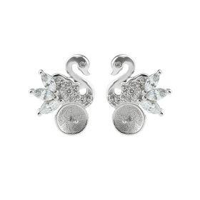 Swan Zircon 925 Sterling Silver Stud Earrings Findings/Mounting/Setting