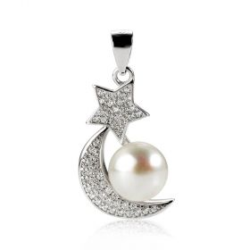 Shiny Rhinestone Moon and Star Single Pearl Pendant Sterling Silver