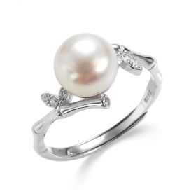 925 Sterling Silver Bamboo Joint Design Adjustable Pearl Ring