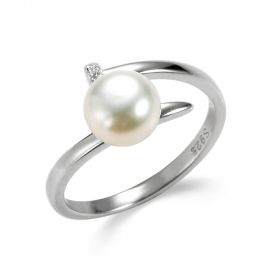 Nail Shape Sterling Silver Cultured Pearl Open Adjustable Ring