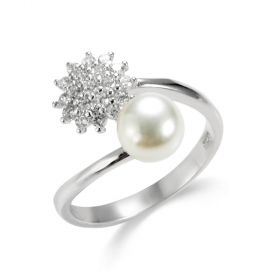 Rhinestone Flower Sterling Silver Pearl Accented Bypass Ring