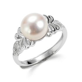 Adjustable S925 Sterling Silver Freshwater Pearl Ring with Zircons