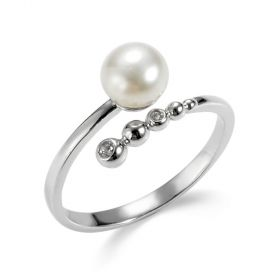 925 Sterling Silver Freshwater Pearl Open Simple Ring Adjustable Size