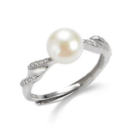 Solitaire Pearl Sterling Silver Rope Design Adjustable Ring for Women Gift