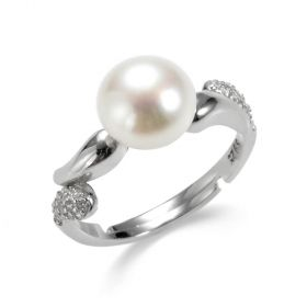 8.5-9mm Freshwater Pearl Sterling Silver Simple Ring Adjustable Size
