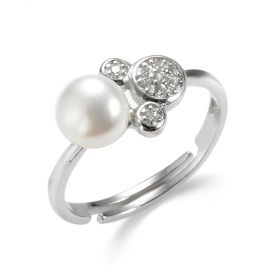 Shiny Mickey Mouse Head Sterling Silver Pearl Adjustable Ring