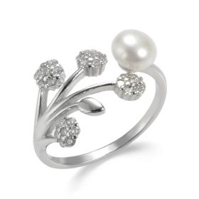 925 Silver Flower Pearl Open Adjustable Ring Christmas Gift for Women Girls