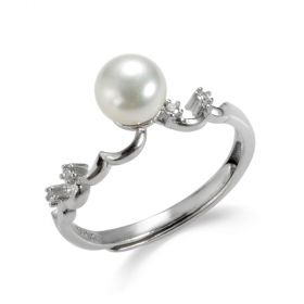 925 Sterling Silver Cultured Pearl Weave Adjustable Rings for Girls