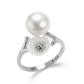 White Flower Sterling Silver Pearl Open Adjustable Ring for Ladies