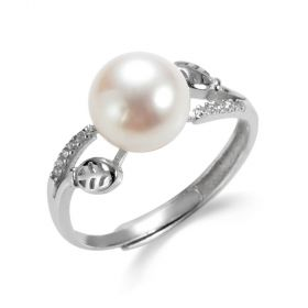 925 Sterling Silver Freshwater Pearl Adjustable Ring with Rhinestone