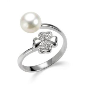 Lucky Clover Four Heart Sterling Silver Pearl Bypass Ring for Women Girls