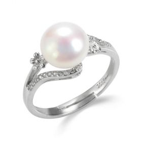 Sterling Silver Freshwater Pearl Flower Bypass Ring Accented with Rhinestone