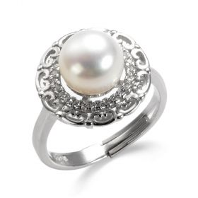 Rhinestone Surrounded Halo Style Pearl Ring in Sterling Silver