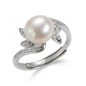 Rhinestone Leaves Accented Bypass Adjustable Pearl Ring Sterling Silver