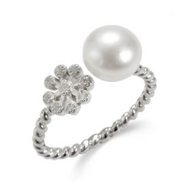 Shiny Flower Open Pearl Sterling Silver Twisted Band Rings for Women Girls