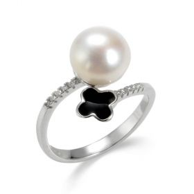 Sterling Silver Freshwater Pearl Lucky Four-leaf Clover Ring Opening Adjustable