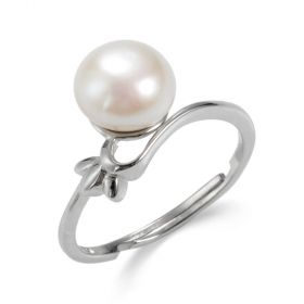 Solitaire Freshwater Pearl Sterling Silver Adjustable Ring