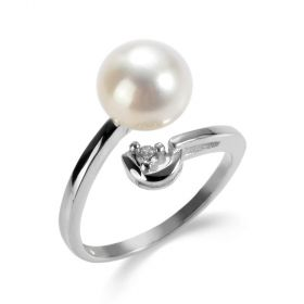 Simple Adjustable Sterling Silver Bypass Open Pearl Rings for Female