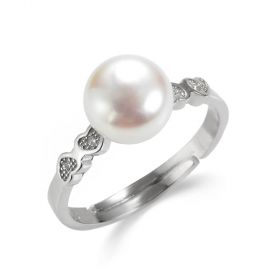 White Freshwater Pearl Sterling Silver Heart Wedding Rings for Women