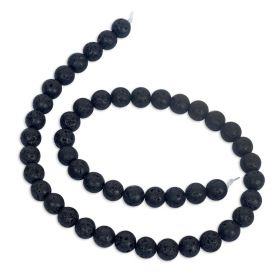 8mm Black Volcanic Stone Synthetic Lava Stone Beads Strand For Jewelry Making DIY Bracelet Necklace