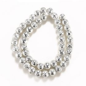 8mm Silver Color Electroplated Hematite Beads Strand for Jewelry Making 15 inch