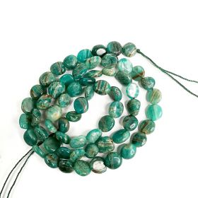 """Coin Shape Smooth Russian Green Amazonite Beads Strand Energy Stone Power for Jewelry Making 16"""""""