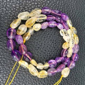 """16"""" Oval Amethyst and Citrine Beads Strand for Women Girls DIY Necklace Bracelet Jewelry B205"""
