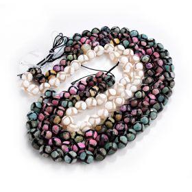 "Colorful Faceted Dzi Agate Tibetan Beads Restro Turtle Pattern Malas DIY Beads 15"" Strand"