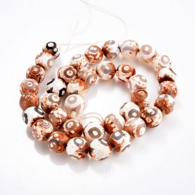 """Retro Style Tebitan Agate Beads Faceted Round Eye Pattern for Beading Jewelry 15"""""""