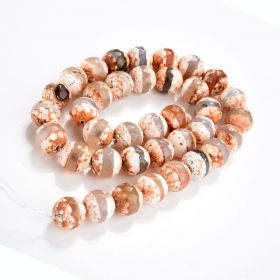 """High Quality DZI Agate Stone Beads Faceted Round with One line Tibetan Agate Beads 15"""" Strand"""