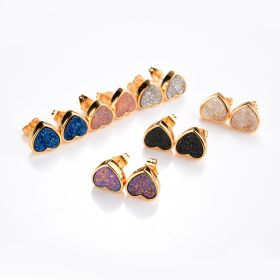 Shimmer Agate Druzy Stud Earrings Tiny Gemstone Drusy Gold Plated Brass Heart Earring