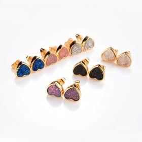 Shimmer Agate Druzy Stud Earrings Tiny Gemstone Drusy Gold Plated Brass Heart Earring