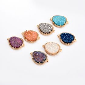 Drop Shape Druzy Agate Pendants Gemstone Charms Double Bail Connector for Jewelry Making
