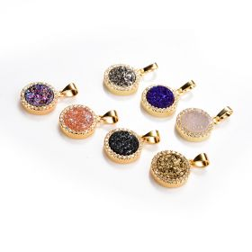 Shiny Druzy Agate Round Pendant Charms with Gold Plated Edges and Bail