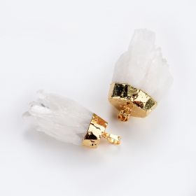 White Crystal Stone Cluster Pendant for Women DIY Necklace Jewelry Supplies