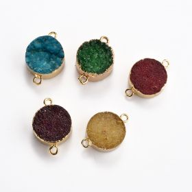 Mixed Gold Plated Flat Round Druzy Agate Links Pendant Connector for Jewelry Making Beads