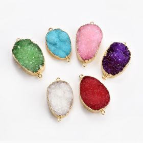 Free Form Druzy Agate Links Jewelry Connector with Gold Plated Brass Framing and Loops